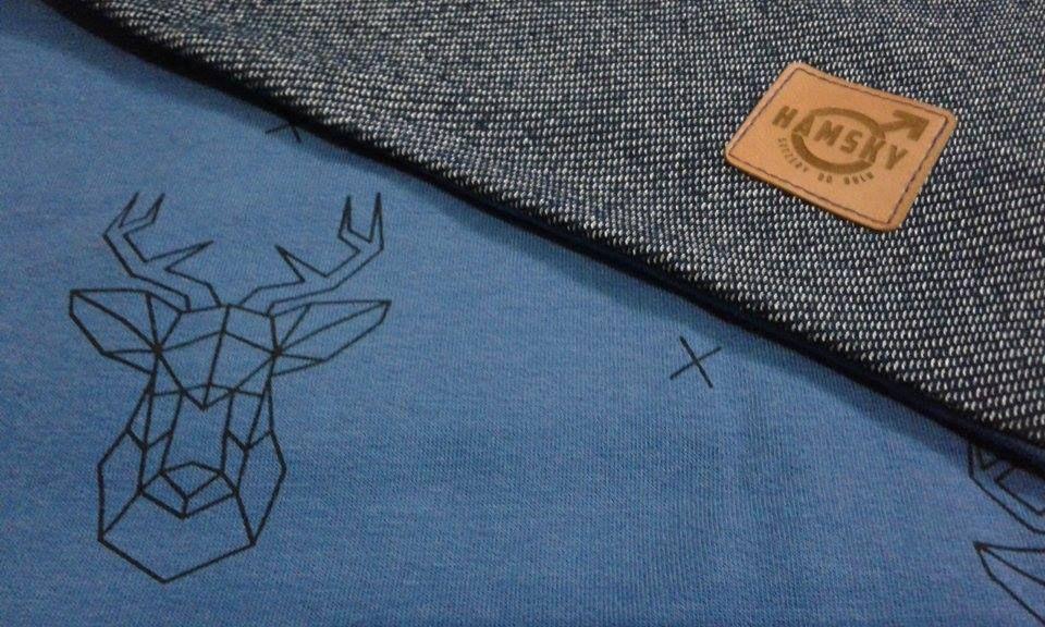 komin: jeans / granat jelenie